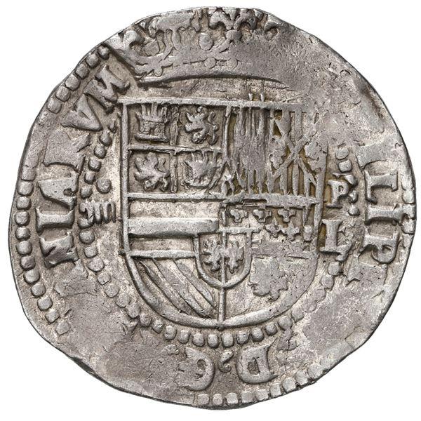 Potosi, Bolivia, cob 4 reales, Philip II, assayer L (1st period) to right, rare.