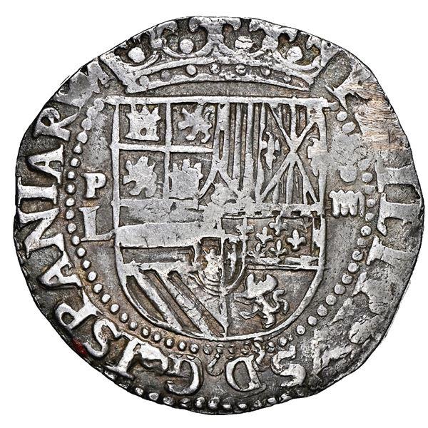 Potosi, Bolivia, cob 4 reales, Philip II, assayer L (1st period) to left, rare, NGC XF details / rev