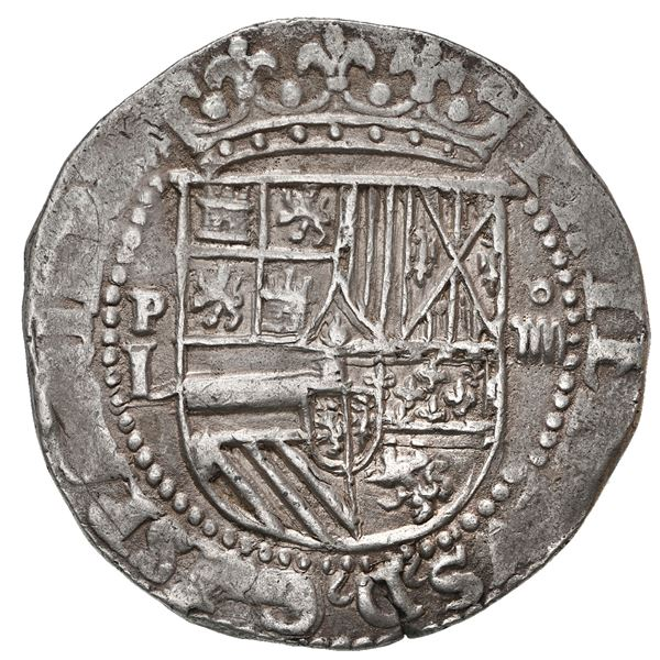 Potosi, Bolivia, cob 4 reales, Philip II, assayer L (1st period) to left, rare.
