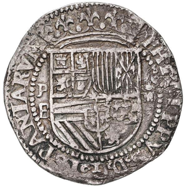 Potosi, Bolivia, cob 4 reales, Philip II, assayer B (1st period), dissimilar lions (rare).