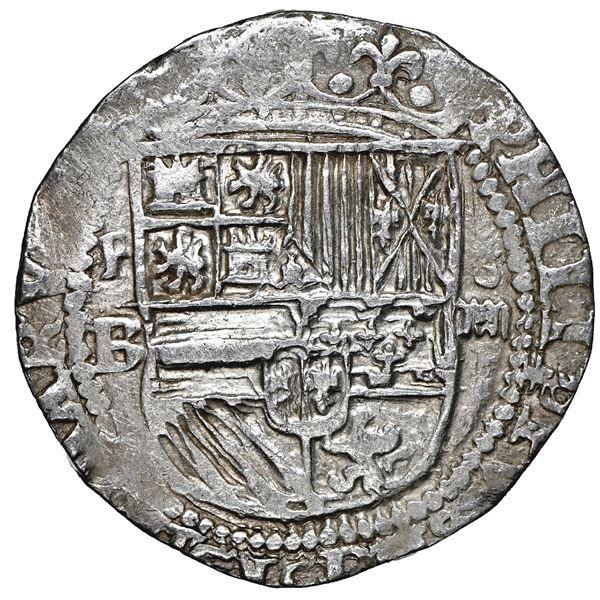 Potosi, Bolivia, cob 4 reales, Philip II, assayer B (1st period), NGC AU details / cleaned.