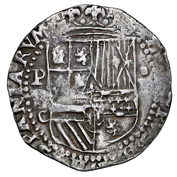 Potosi, Bolivia, cob 4 reales, Philip II, assayer C below erased B, very rare, NGC VF 35, finest and