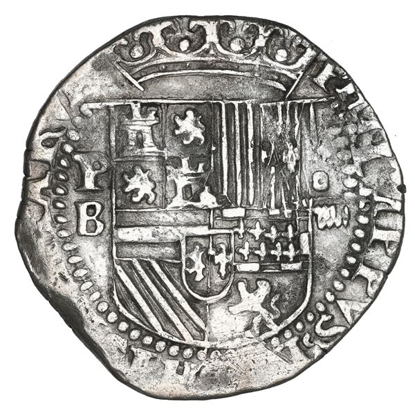 Potosi, Bolivia, cob 4 reales, Philip II, assayer B (3rd period), NGC XF details / cleaned.