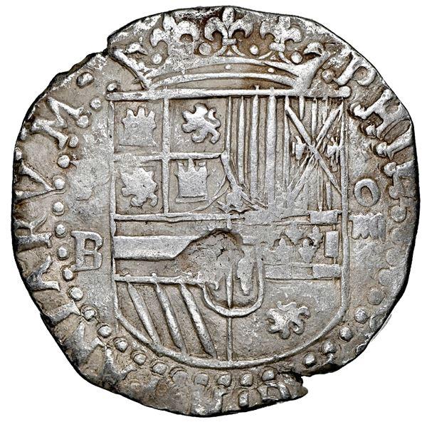 Potosi, Bolivia, cob 4 reales, Philip II, assayer B (3rd period), NGC XF 40.