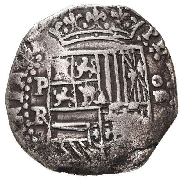 Potosi, Bolivia, cob 4 reales, Philip II, assayer RL, long-tailed lions.