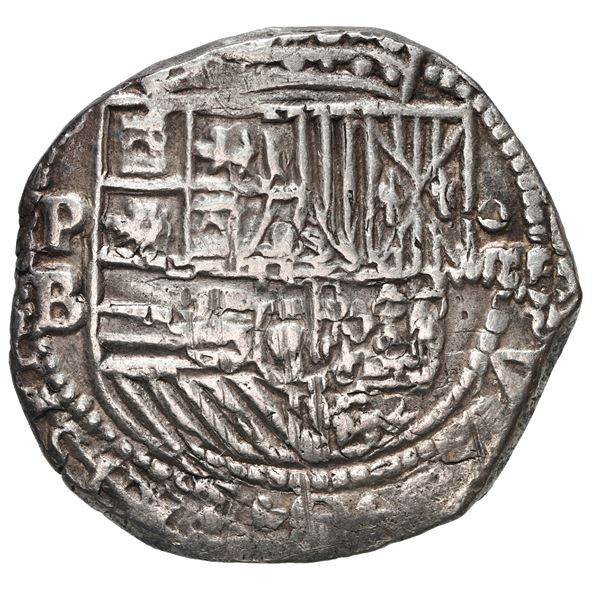 Potosi, Bolivia, cob 4 reales, Philip II, assayer B (5th period), border of x's on cross side only.