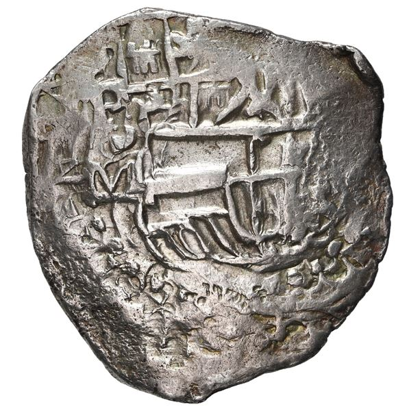 Potosi, Bolivia, cob 4 reales, Philip III, assayer M/Q, quadrants of cross transposed, rare.