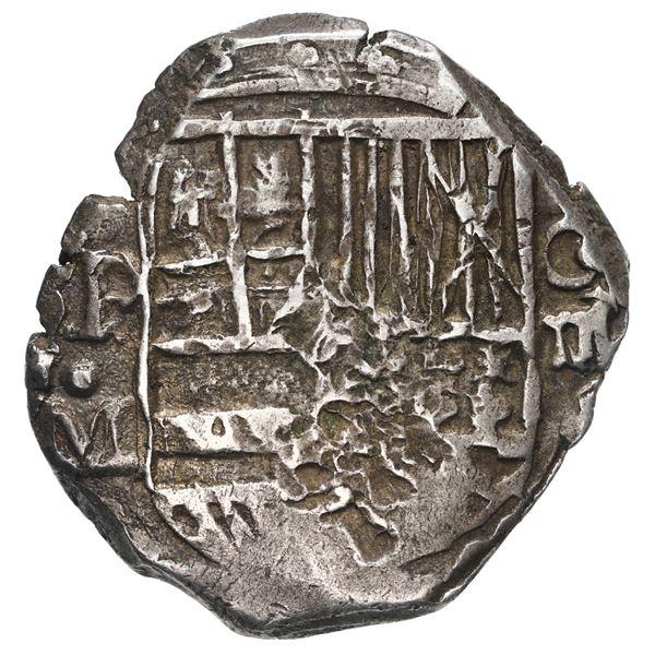 Potosi, Bolivia, cob 4 reales, Philip III, assayer M, quadrants of cross transposed, rare.