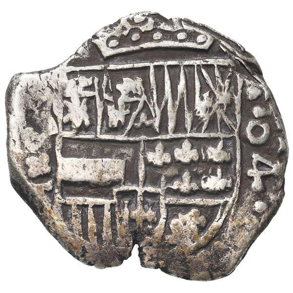 Potosi, Bolivia, cob 4 reales, Philip III, assayer T, denomination as o4 in retrograde (ca. 1618).
