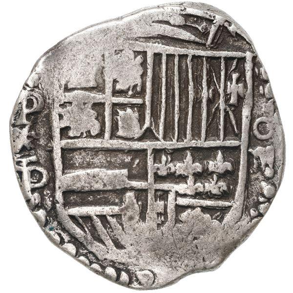 Potosi, Bolivia, cob 4 reales, Philip IV, assayer P/T, quadrants of cross transposed (ca. 1622).
