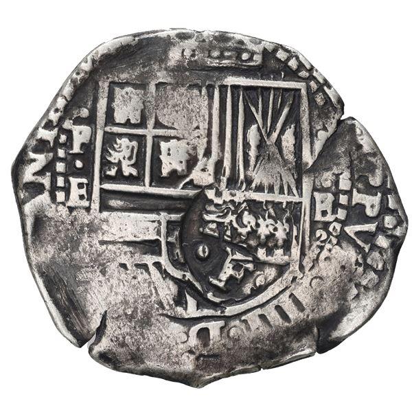 Potosi, Bolivia, cob 4 reales, (1651-2) E, crowned-F (Mastalir Fa1) countermark on shield.