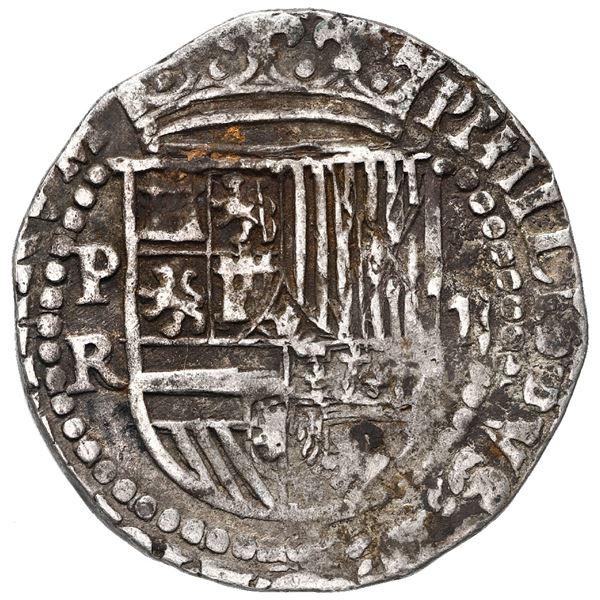 Potosi, Bolivia, cob 2 reales, Philip II, assayer R (Rincon).