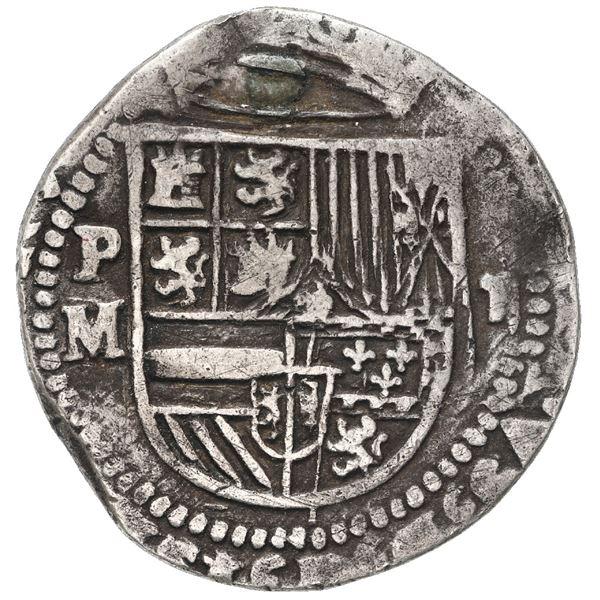 Potosi, Bolivia, cob 2 reales, Philip II, assayer M/R to left, very rare.