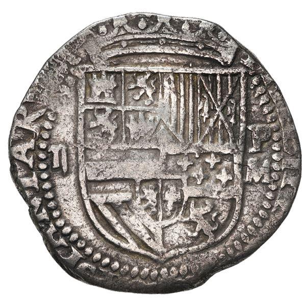 Potosi, Bolivia, cob 2 reales, Philip II, assayer M (large) to right, rare, ex-Atocha Research Colle