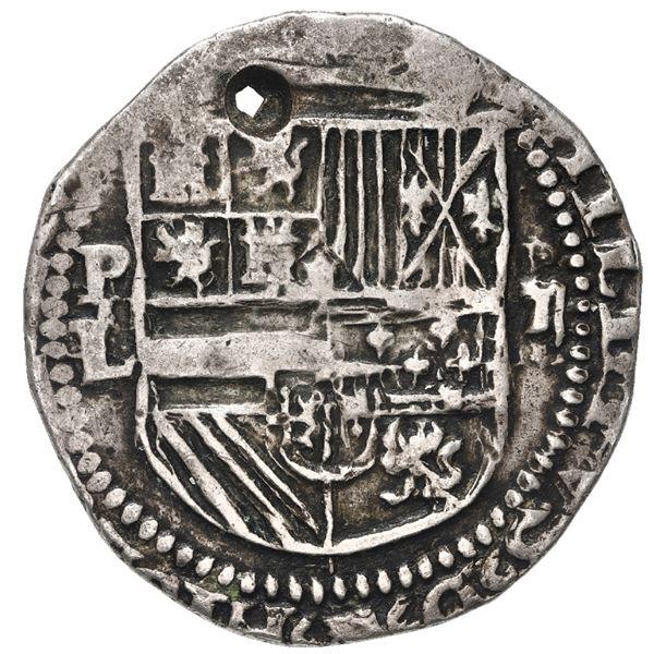 Potosi, Bolivia, cob 2 reales, Philip II, assayer L below mintmark P to left, denomination ii over e