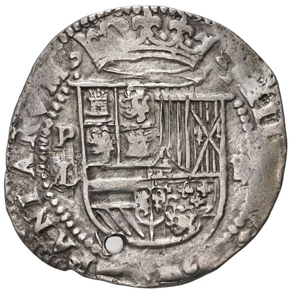 Potosi, Bolivia, cob 2 reales, Philip II, assayer L over erased M below mintmark P to left, rare.