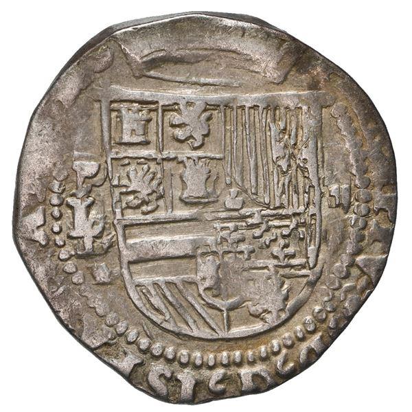 Potosi, Bolivia, cob 2 reales, Philip II, assayer L/L over erased M(?) below mintmark P to left, rar