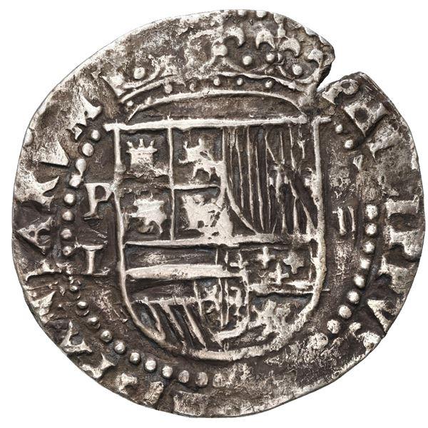 Potosi, Bolivia, cob 2 reales, Philip II, assayer L over erasure below mintmark P to left.