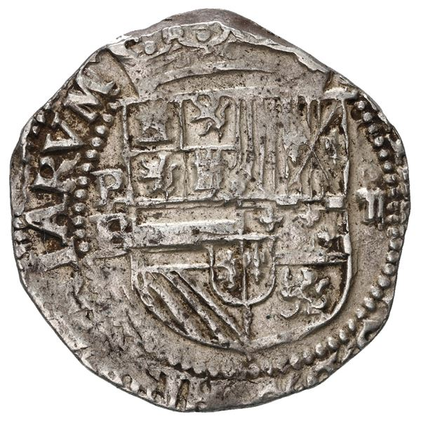 Potosi, Bolivia, cob 2 reales, Philip II, assayer B/L below mintmark P to left, denomination ii over