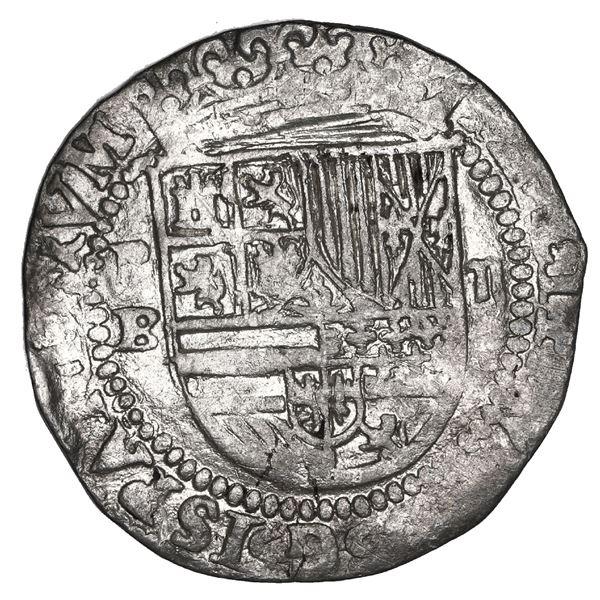 Potosi, Bolivia, cob 2 reales, Philip II, assayer B (1st period), NGC XF 40.
