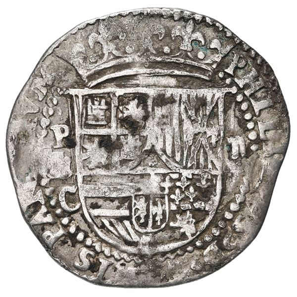 Potosi, Bolivia, cob 2 reales, Philip II, assayer C below erasure, rare.