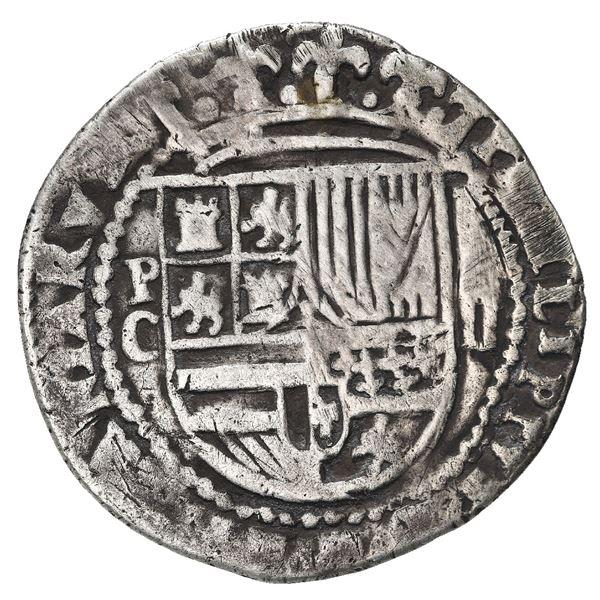 Potosi, Bolivia, cob 2 reales, Philip II, assayer C (no erasure), very rare.