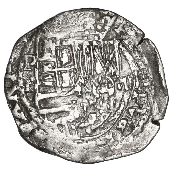 Potosi, Bolivia, cob 2 reales, Philip II, assayer B (5th period), borders of x's on both sides, NGC