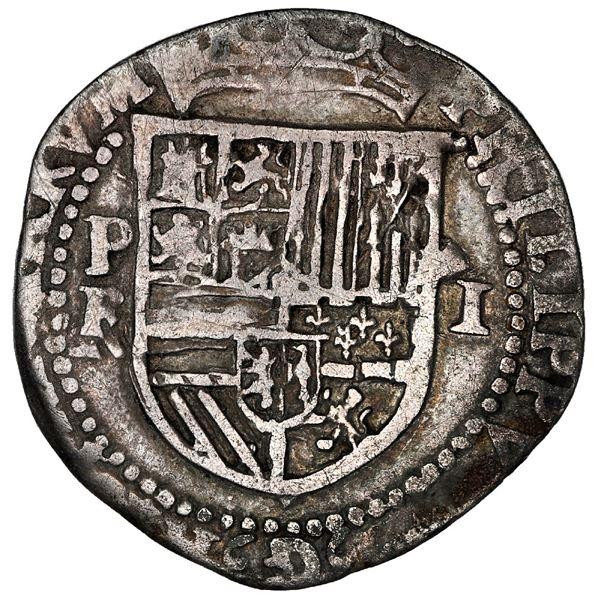 Potosi (or La Plata), Bolivia, cob 1 real, Philip II, assayer R (Rincon) below mintmark P to left, r