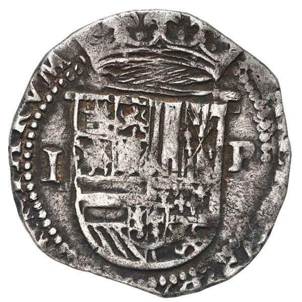 Potosi, Bolivia, cob 1 real, Philip II, assayer R (Rincon) below mintmark P to right.