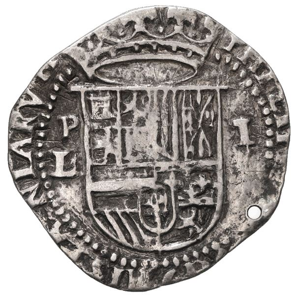 Potosi, Bolivia, cob 1 real, Philip II, assayer L/erasure to left, rare.