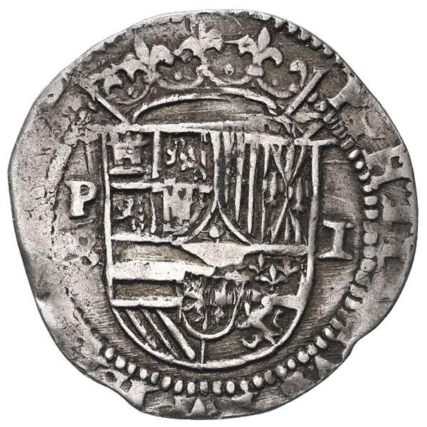 Potosi, Bolivia, cob 1 real, Philip II, assayer B (1st period).