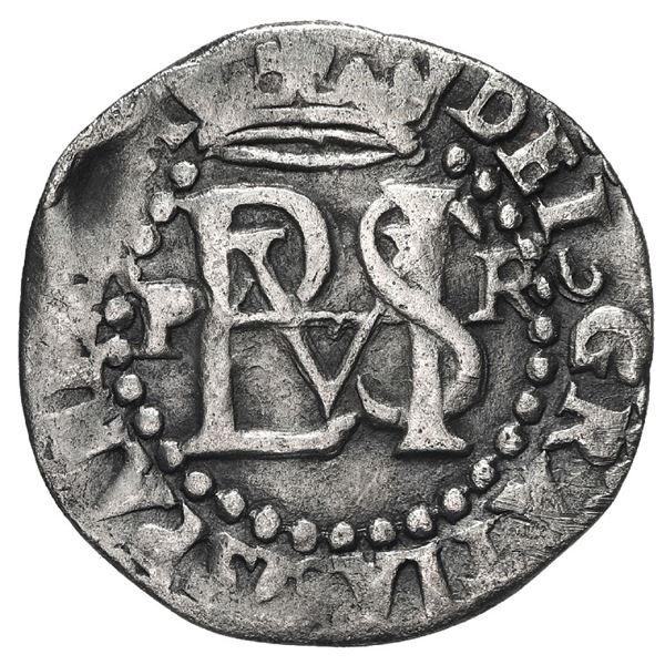 Potosi, Bolivia, cob 1/2 real, Philip II, assayer R (Rincon) to right, mintmark P to left.