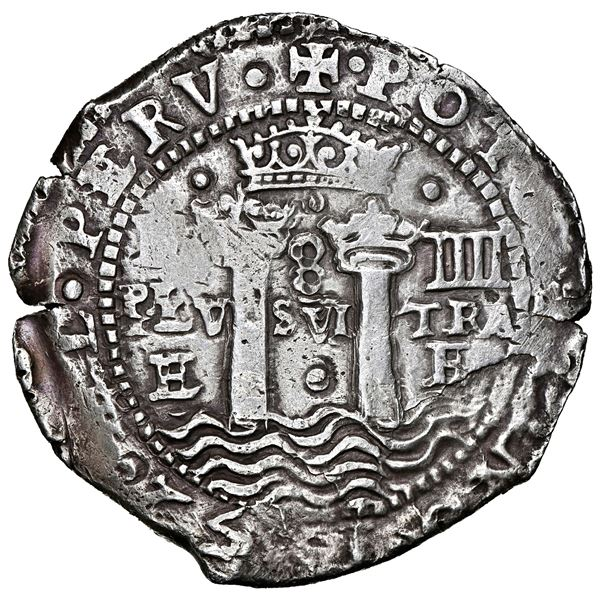 Potosi, Bolivia, cob 8 reales, 1652 E transitional Type III/A, NGC AU 55, finest and only example in