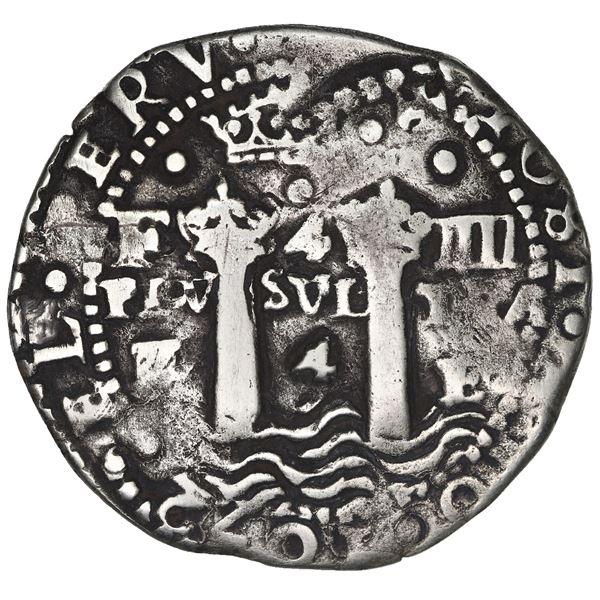 Potosi, Bolivia, cob 4 reales, 1652 E transitional, McLean Type I/A, rare.