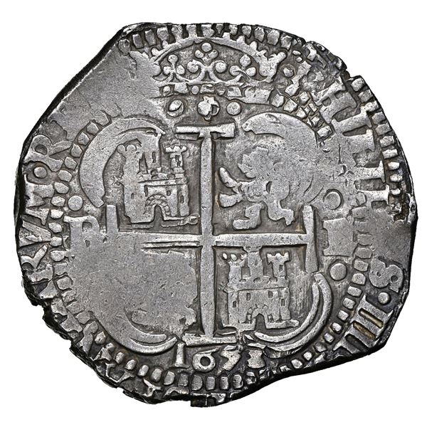 Potosi, Bolivia, cob 8 reales, 1653 E, dot-PH-dot at top, four-digit date below cross, NGC AU 58, fi