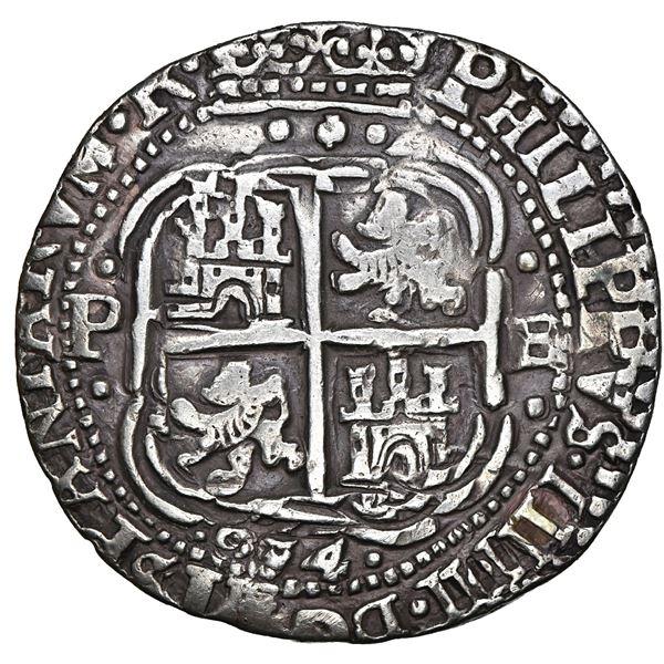 Potosi, Bolivia, cob 8 reales Royal (galano), 1654 E, dot-PH-dot at top, pomegranate above cross, ra