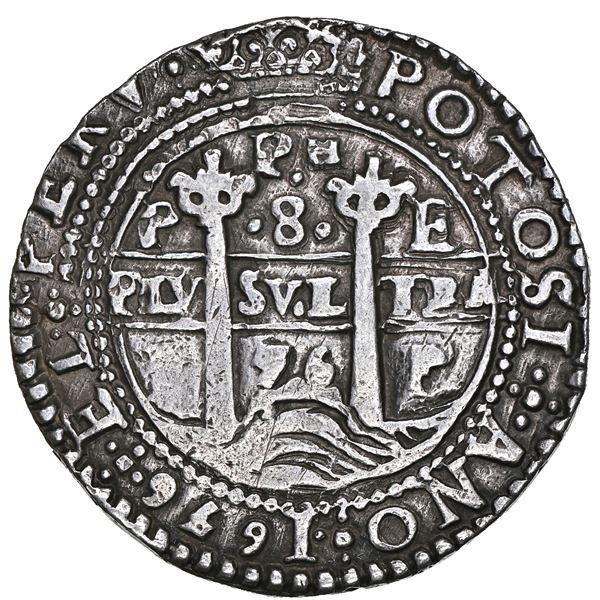 Potosi, Bolivia, cob 8 reales Royal (galano), 1656 E, PH at top, pomegranate above cross, rare, NGC