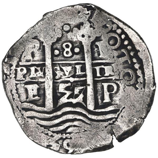 Potosi, Bolivia, cob 8 reales, 1657 E, pomegranate above cross.
