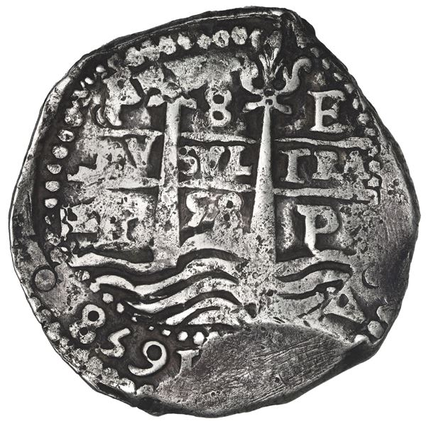 Potosi, Bolivia, cob 8 reales, 1658 E, pomegranate above cross.