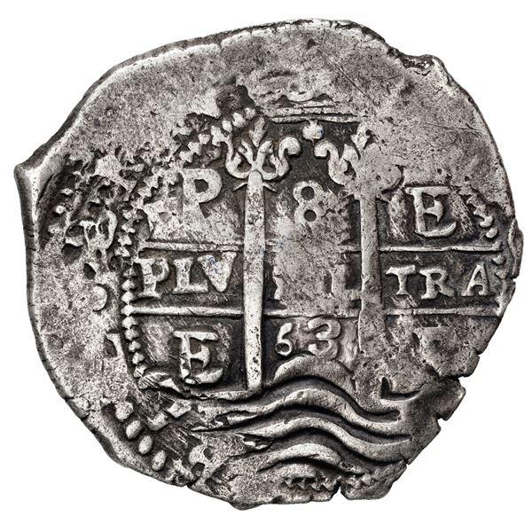 Potosi, Bolivia, cob 8 reales, 1663 E.