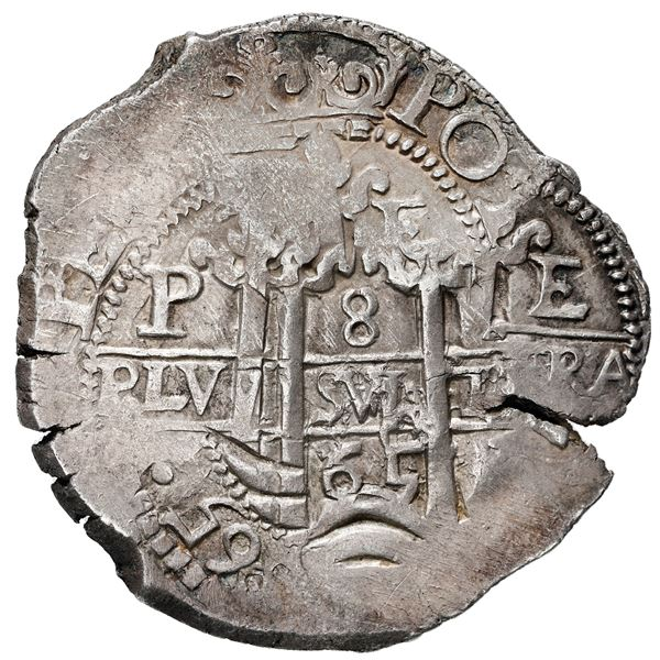 Potosi, Bolivia, cob 8 reales, 1665 E.