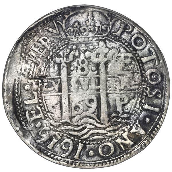 Potosi, Bolivia, cob 8 reales Royal (galano), 1669 E, NGC VF details / plugged.
