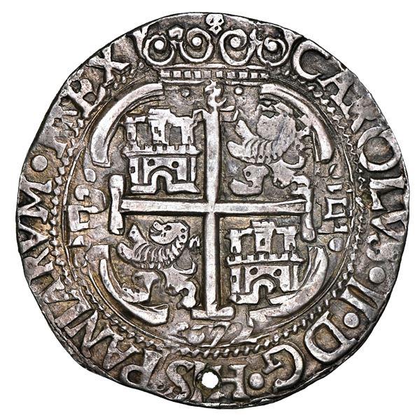 Potosi, Bolivia, cob 8 reales Royal (galano), 1672 E, NGC AU details / holed.