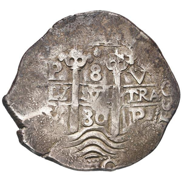 Potosi, Bolivia, cob 8 reales, 1680 V.