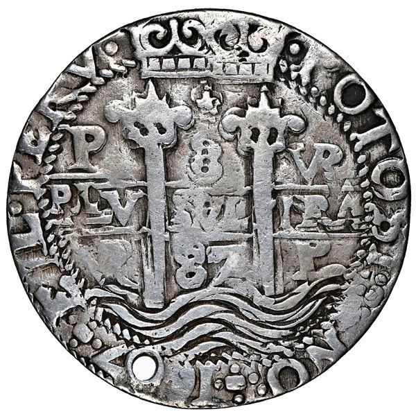 Potosi, Bolivia, cob 8 reales Royal (galano), 1687 VR, NGC clipped.