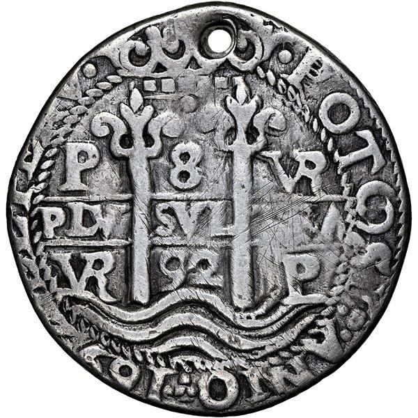 Potosi, Bolivia, cob 8 reales Royal (galano), 1692 VR, rare, NGC VF details / holed, tooled.