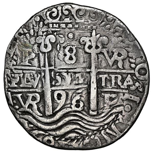 Potosi, Bolivia, cob 8 reales Royal (galano), 1696 VR, NGC VF details / plugged.