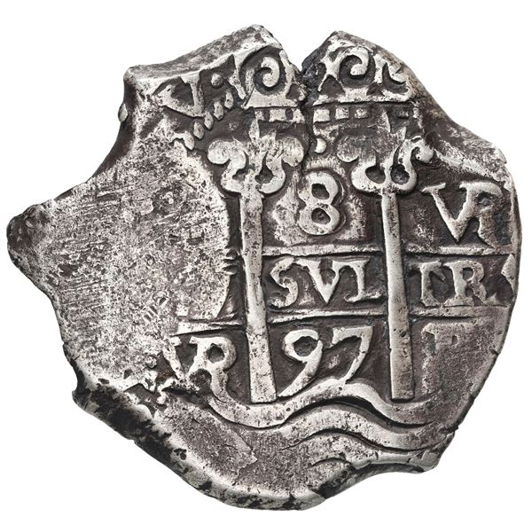 Potosi, Bolivia, cob 8 reales, 1697 VR.