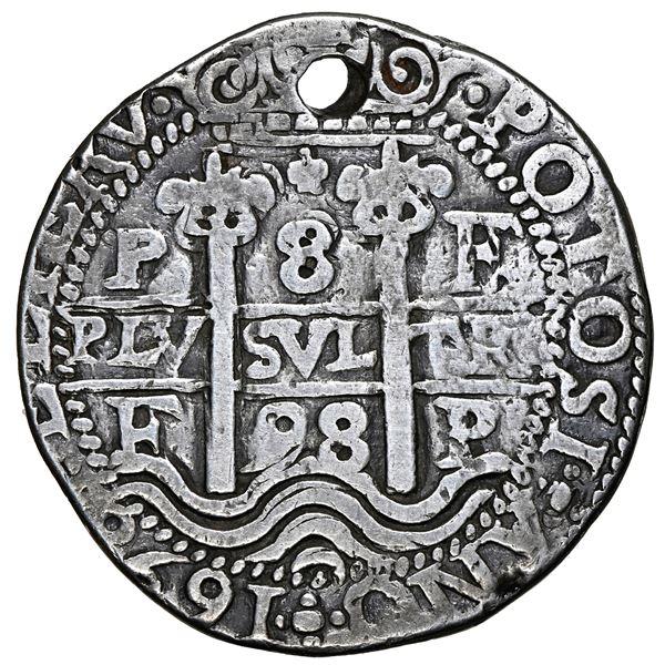 Potosi, Bolivia, cob 8 reales Royal (galano), 1698 F, NGC VF details / holed.