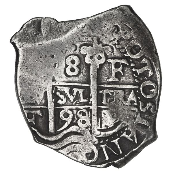 Potosi, Bolivia, cob 8 reales, 1698 F.